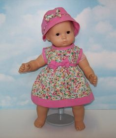 Pink and Green Floral Dress with Matching Hat. Fits 15″ Dolls like Bitty Baby® and Bitty Twin®  - Click image twice for more info -  See a larger slection of  Baby dolls  at   http://zbabybaby.com/category/baby-categories/baby-and-toddler-toys/baby-doll/  - gift ideas, baby , baby shower gift ideas, kids, toddler « zBabyBaby.com