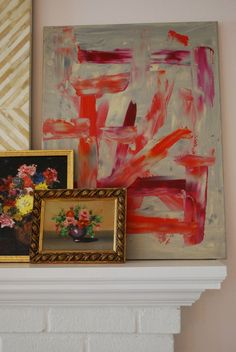Coral and plum abstract art