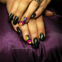 Black gel with neon pigment simple flowers #neon #nailart #neonnails #gelpolish #dorsetnails #shaftesburynails