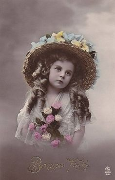 Absolutely beautiful little girl...Vintage postcard Flickr