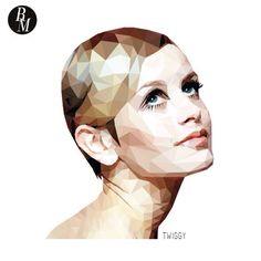 Twiggy polygon portrait- digital illustration, graphic design
