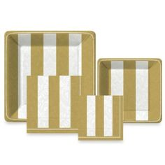 Gold Stripe Paper Tableware Entertaining Kit