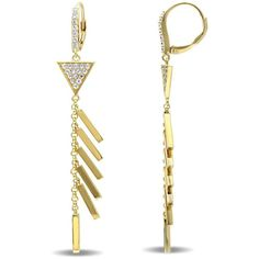 V1969 Italia White Sapphire Insignia Drop Earrings In 18k Yellow Gold... ($225) ❤ liked on Polyvore featuring jewelry, earrings, multi colored, gold drop earrings, sterling silver drop earrings, 18k yellow gold earrings, 18 karat gold earrings and yellow gold drop earrings