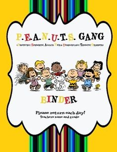 Classroom Binder Cover for weekly folders and a banner bunting for your classroom with a Peanuts Gang theme.You can put your name and grade on coverIt has the words Return each Monday and Return each day.