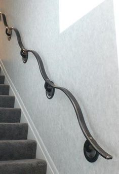 Blacksmith : Custom Designed Handrail : Hand Forged Steel and Stainless Steel Blacksmith : Custom Designed Handrail : Hand Forged Steel and Stainless Steel Wrought Iron Stair Railing, Stair Railing Design, Wrought Iron Decor, Metal Stairs, Stair Handrail, Staircase Railings, Railing Ideas, Banisters, Balustrade Inox