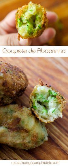 Croquete de Abobrinha, uma receita vegetariana para petiscar com os amigos. #receita #comida #petisco #vegetariano #abobrinha #lanche