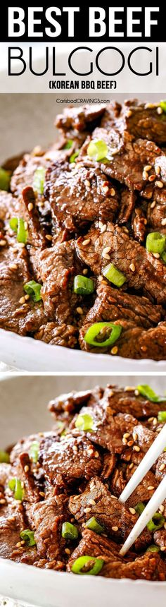 This Beef Bulgogi rivals my favorite Korean restaurant ! It's super easy and the Beef Bulgogi is crazy tender and juicy seeping with mildly sweet, savory, smoky flavors from the soy, sesame, garlic…More Pork Recipes, Asian Recipes, Cooking Recipes, Easy Dinner Recipes, Easy Meals, Bulgogi Recipe, Bulgogi Sauce, Planning Menu, Korean Recipes