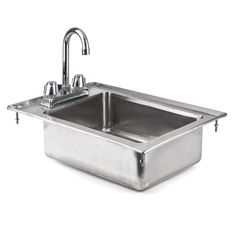 """Regency 16 Gauge One Compartment 10"""" x 14"""" x 5"""" Stainless Steel Drop-In Sink with 8"""" Gooseneck Faucet"""