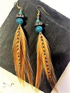 Handmade Feather Earrings from Wilderman's Etsy Shop #turquoise #rhinestones #featherearrings #feathers #boho #bohemian #hippie #mountainwear #handmade #jewelry #earrings #festivalwear #roosterfeathers #etsy #forsale #coloradostyle #custom  www.etsy/shop/wildermans