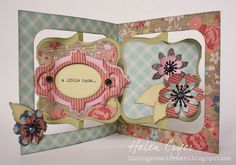 Helen Cryer as the Dining Room Drawers using a Karen Burniston's Sizzix accordion album die, frame & label bracket die and TH tattered floral garland die; May 2013