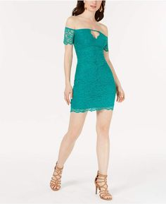 Guess Off-The-Shoulder Lace Bodycon Dress - Miami Nights Bodycon Prom Dresses, V Neck Prom Dresses, Tight Dresses, Satin Dresses, Review Dresses, Junior Dresses, Ladies Dress Design, Dress Outfits, Lace