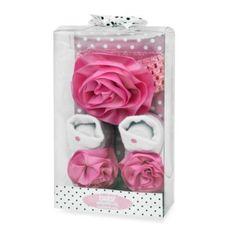 Baby Essentials Dots Newborn Headband and Bootie Set in Pink/White - BedBathandBeyond.com