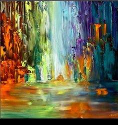 Modern cityscape painting by the artist Osnat Tzadok. Choose from thousands of modern, contemporary and abstract paintings in this online art gallery. Artwork: 'The Arrival', dimensions: