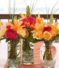 Reception table - Centerpiece ideas that pop with color.