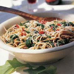 Whole-Wheat Spaghetti with Arugula | MyRecipes.com