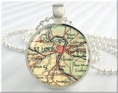 St Louis Map Pendant Resin Pendant Charm St Louis Missouri Travel Necklace Picture Pendant (506RS)