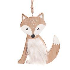 Weihnachtsdeko Fuchs aus Holz und weißem Kunstfell