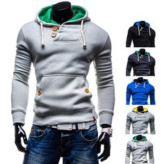 Hot Trendy Men's Fashion Design Pullover Hoodie with Button Detail | Sneak Outfitters