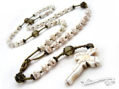 Hey, I found this really awesome Etsy listing at https://www.etsy.com/ca/listing/170876373/white-catholic-rosary-necklace-first