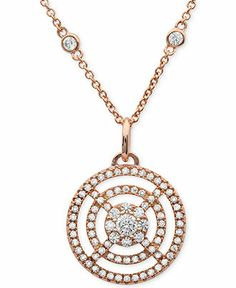 Sterling Silver Cubic Zirconia Round Open Circle Dangle Drop Pendant Necklace