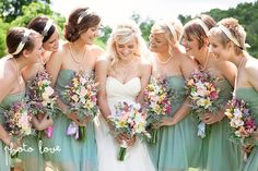 Mint Green Bridesmaid dresses with pearl accesories
