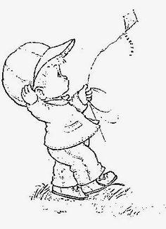 desenho do menino soltando pipa para pintar em tecido