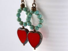 Rustic Red Hearts Wire Wrapped Earring. by GillsHandmadeJewels, £10.00