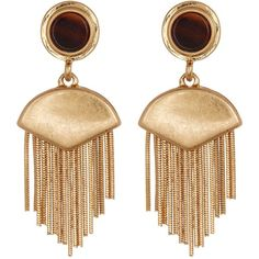 Vince Camuto Double Drop Fringe Earrings ($17) ❤ liked on Polyvore featuring jewelry, earrings, gold, gold tone jewelry, vince camuto, gold tone earrings, vince camuto jewelry and earring jewelry