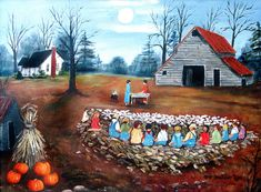 Corn shucking, barn, corn stalks, pumpkins, full moon, Folk Art Prints, Southern Country Painting, Memory Painting, by Arie Reinhardt Taylor by jagartist on Etsy