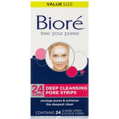 Bioré Ultra Deep Cleansing Pore Strips work like a super-magnet to remove more blackheads than before to give you the deepest clean. These improved strips lock into and remove deep-down dirt, oil and blackheads for the deepest clean. Unclog Pores, Clear Skin Tips, Peel Off Mask, Chemical Peel, Deep, Skin Treatments, Skin Products, Cleanser, Health And Wellness