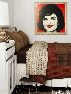 Make a statement in any room with bold pop art, like this Andy Warhol rendition of Jackie O.