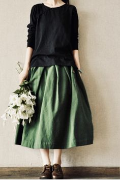 Women's Plus Size Green Vintage Skirts Spring Summer Autumn Expansion Bottom Casual Skirt Fashion Solid Color Pleated Skirt _ {categoryName} - AliExpress Mobile Version - - Vintage Rock, Looks Vintage, Vintage Cotton, Vintage Green, Modest Fashion, Skirt Fashion, Fashion Outfits, Apostolic Fashion, Style Fashion