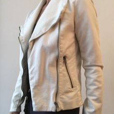 White Moto faux leather Jacket for fall size small Fall jacket great for layering. Worn a few times. Great condition. Spot on right lapel. Forever 21 Jackets & Coats
