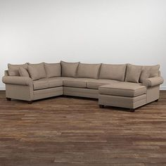 Featuring sock arms, wedge legs, semi-attached bed-pillow back and boxed seat cushions, Alex lends itself to a relaxed environment. Walnut is the standa. U Shaped Sectional Sofa, U Shaped Sofa, Fabric Sectional, Sofa Couch, Sleeper Sectional, Leather Sectional, Black Sectional, Couches, Sofa Inspiration