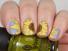Wondrously Polished: Sunflower Nail Art
