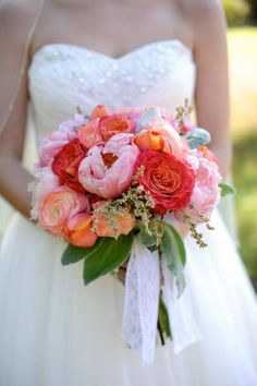 Coral Pink Bride Bouquet - STUNNING!  Peonies   The Barn at Twin Oaks Ranch