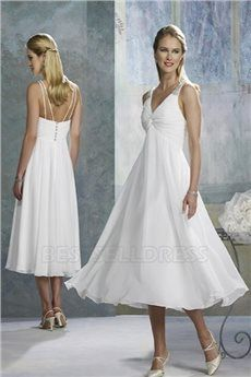 Empire V-neck Spaghetti Straps Tea-length Wedding Dress With Beading Ruching