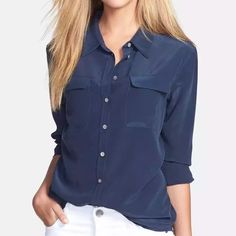 Silk Utility Button Down Blouse Two by VINCE CAMUTO Silk Utility Button Down Blouse. Worn once and in like-new condition. Beautiful navy blue long-sleeved blouse classically styled with a point collar and flap chest pockets with button cuffs and curved shirttail hem. 100% silk. Vince Camuto Tops