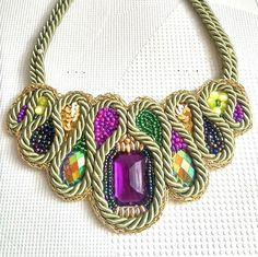 Olive Green Necklace Beadwork Necklace by SaraKeyHandmade on Etsy