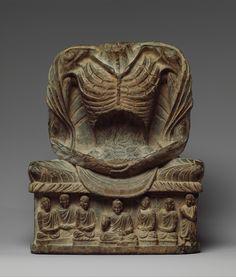 Fasting Buddha Shakyamuni in bhairava mudra (surrendering to meditation). Kushan period, 3rd-5th century. Pakistan (ancient region of Gandhara).