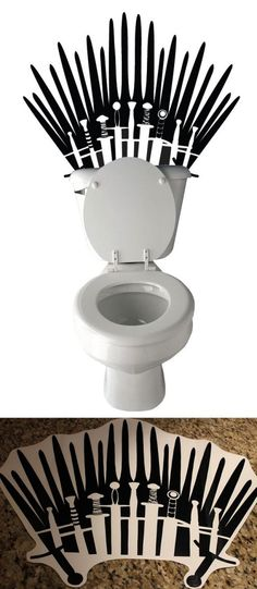 Customized Game of Thrones toilet sticker. Put this behind your wall to sit on your very own iron throne