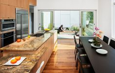 Modern Home Designs, 10 Degree House Utilized The Narrow Land : Black Dining Table Black Chairs Wooden Cabinets Wooden Marble Island, Dining Room Designs Fine Dining, Dining Area, Dining Room, Dining Table, Wooden Kitchen, Kitchen Dining, Concrete Fountains, Interior Design Degree, Sweet Home