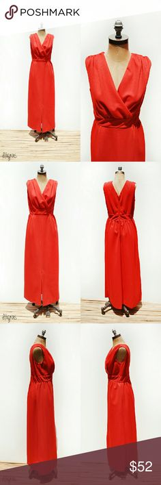"""SALE Vintage Dress   Full Length Red Maxi Dress Vintage 1960s red maxi dress w/a lined surplice neckline, unlined skirt, sleeveless, empire//high waisted + semi loose a-line front slit skirt. A metal zippered back + hook + eye closure.  -MEASUREMENTS- Length: 56"""" Shoulders: 15"""" Bust: 30"""" Waist: 32"""" Hips: 44"""" Front Slit: 16""""  Brand: n/a Condition: excellent Vintage Dresses Maxi"""