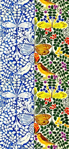 very cool- monotone and color butterflies and birds design, by C.F.A. Voysey. England, 1918