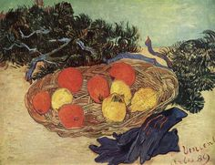 Still Life with Oranges and Lemons with Blue Gloves, 1889 by Vincent van Gogh. Post-Impressionism. still life. Collection Mr. and Mrs. Paul Mellon, Upperville, Virginia, USA
