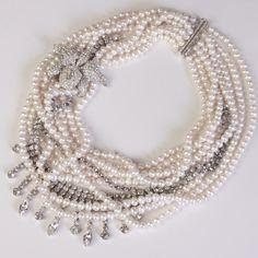 c1940s Pave Orchid Trembler on Freshwater Pearl & c1950s Rhinestone Tangle, Karen Lindner Designs Bridal 2011