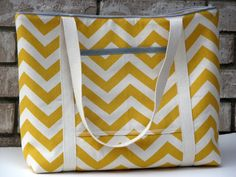 Yellow Chevron Canvas Large Tote Bag with Light Gray Accents-Custom, Ready to Ship