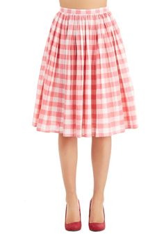 Parisian Picnic Skirt. Hand in hand with your sweetie, you flutter to your favorite city overlook in this gingham skirt! #pink #modcloth