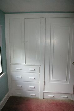 Replace closets with a built in wardrobes. Floor to ceiling drawers on one side, hanging storage on side.
