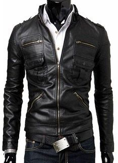 Men's leather jacket Men stand Collar Slim fit by Myleatherjackets, $149.99